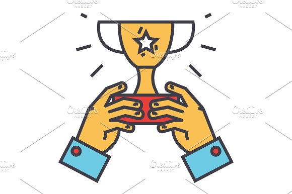Winner Cup Trophy In Hands Champion Victory Concept Line Vector Icon Editable Stroke Flat Linear Illustration Isolated On White Background
