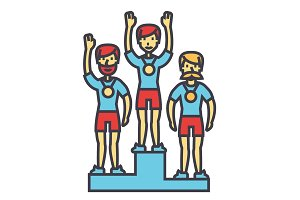 Winner podium, sport team, first place, olympics, competition concept. Line vector icon. Editable stroke. Flat linear illustration isolated on white background
