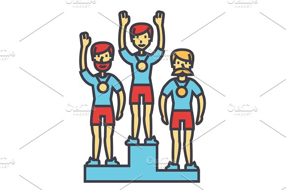 Winner Podium Sport Team First Place Olympics Competition Concept Line Vector Icon Editable Stroke Flat Linear Illustration Isolated On White Background