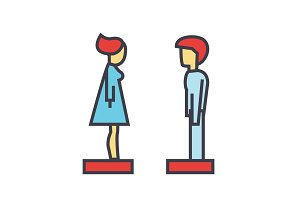 Woman and man profile side view, avatars, relationship concept. Line vector icon. Editable stroke. Flat linear illustration isolated on white background