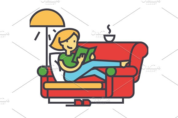 Woman Sitting On Home Sofa Reading Book With Tea And Lamp Concept Line Vector Icon Editable Stroke Flat Linear Illustration Isolated On White Background