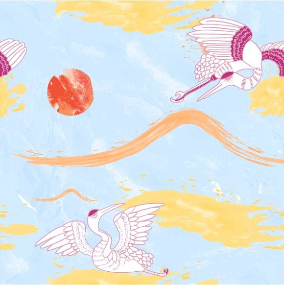 Watercolour Phoenix Pattern