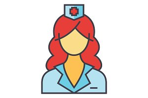 Woman doctor, nurse, medical team concept. Line vector icon. Editable stroke. Flat linear illustration isolated on white background