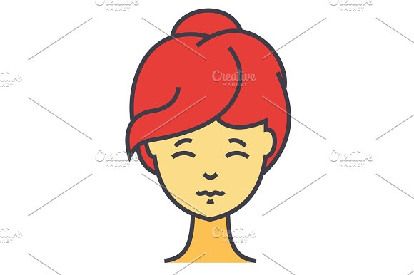 Woman Fresh Healthy Face Front Spa Cosmetics Young Girl Clean Skin Concept Line Vector Icon Editable Stroke Flat Linear Illustration Isolated On White Background
