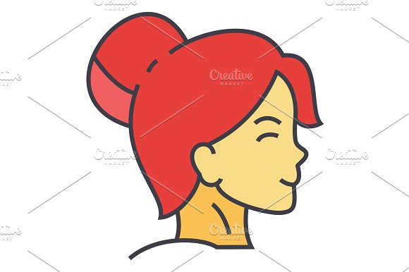 Woman Fresh Healthy Face Profile Spa Cosmetics Young Girl Clean Skin Concept Line Vector Icon Editable Stroke Flat Linear Illustration Isolated On White Background