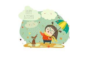Cute girl playing in rain with umbrella