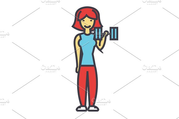 Woman Fitness With Gym Weights Female Workout Concept Line Vector Icon Editable Stroke Flat Linear Illustration Isolated On White Background
