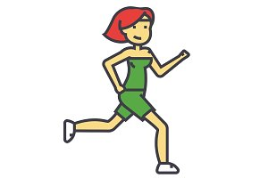 Woman running, female fitness, sporty girl, jogging concept. Line vector icon. Editable stroke. Flat linear illustration isolated on white background
