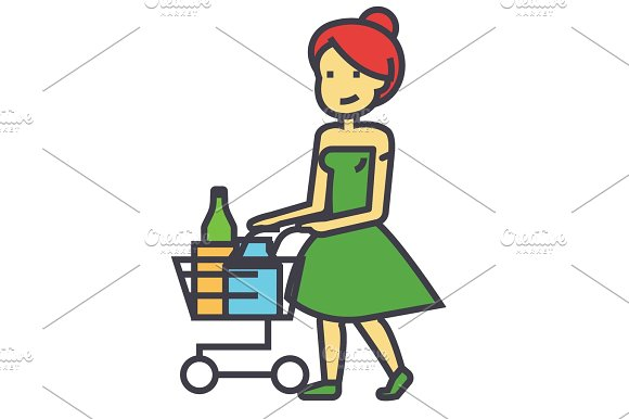 Woman Shopping In Supermarket With Grocery Cart Concept Line Vector Icon Editable Stroke Flat Linear Illustration Isolated On White Background