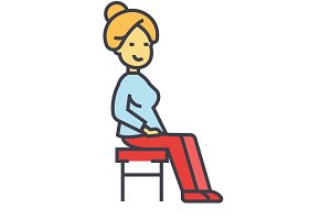 Woman sitting on the chair concept. Line vector icon. Editable stroke. Flat linear illustration isolated on white background