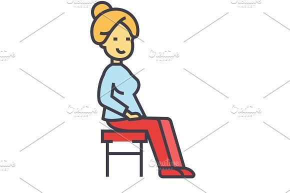 Woman Sitting On The Chair Concept Line Vector Icon Editable Stroke Flat Linear Illustration Isolated On White Background