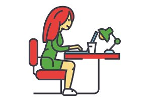 Woman working on notebook in office or at home, female freelancer concept. Line vector icon. Editable stroke. Flat linear illustration isolated on white background