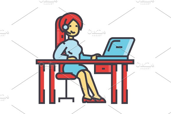 Woman Working On Table With Laptop And Headset Support Service Concept Line Vector Icon Editable Stroke Flat Linear Illustration Isolated On White Background