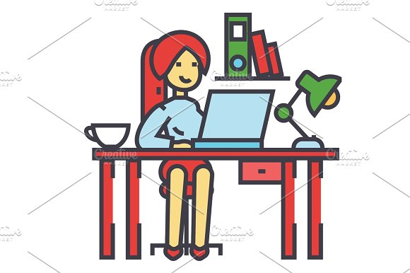 Woman Working On The Office Table Office Interior Freelancer Concept Line Vector Icon Editable Stroke Flat Linear Illustration Isolated On White Background