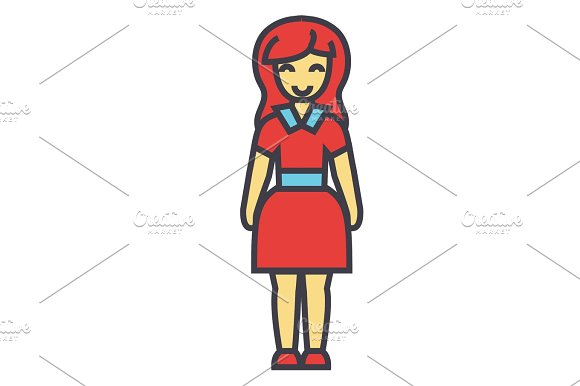 Standing Young Happy Woman In Cute Dress Concept Line Vector Icon Editable Stroke Flat Linear Illustration Isolated On White Background