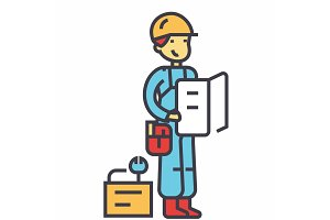 Worker with plan and tools concept. Line vector icon. Editable stroke. Flat linear illustration isolated on white background