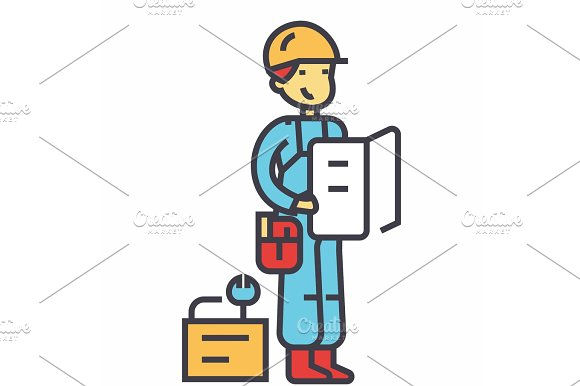 Worker With Plan And Tools Concept Line Vector Icon Editable Stroke Flat Linear Illustration Isolated On White Background