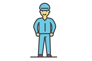 Industrial worker, craftsman, repairman concept. Line vector icon. Editable stroke. Flat linear illustration isolated on white background