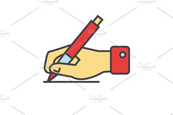 Writing Sign Hand With Pen Concept Line Vector Icon Editable Stroke Flat Linear Illustration Isolated On White Background