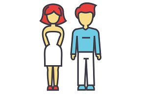 Young couple, man and woman in love, relationship concept. Line vector icon. Editable stroke. Flat linear illustration isolated on white background