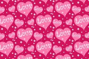 Love, seamless pink background