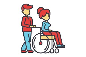 Young man strolling with young woman in wheelchair, nursing care for disabled people concept. Line vector icon. Editable stroke. Flat linear illustration isolated on white background