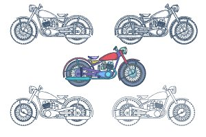 Vintage Motorcycle Illustration Pack