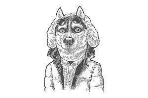 Dog sportsman in glasses and jacket. Vintage black engraving