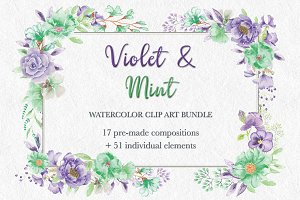 'Violet & Mint': watercolor bundle