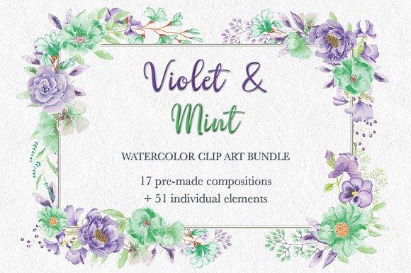 'Violet Mint Watercolor Bundle