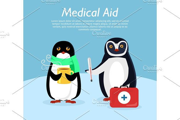 Medical Aid Conceptual Flat Stye Vector Banner