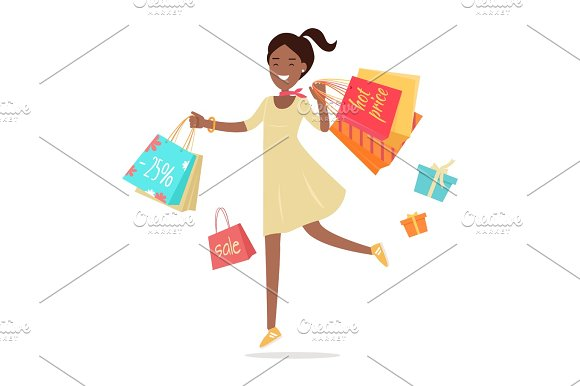 Woman Shopping Lady Carries Paper Bags Hot Sale