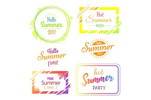 Hello Hot Summer Days and Parties Stickers Set