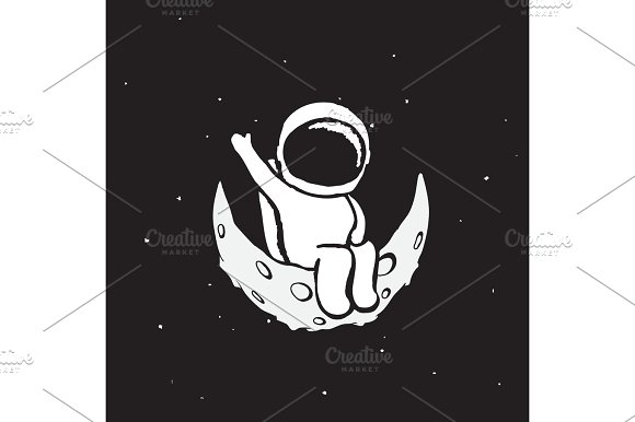 Spaceman Sits On The Moon