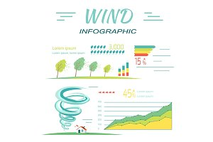Wind Infographics. Tornado and Hurricanes Banners.