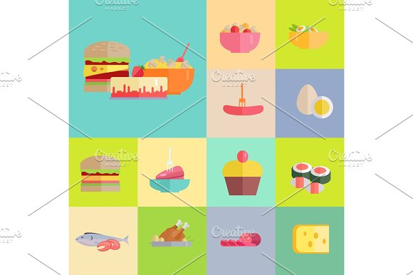 Delicious Meals And Desserts Illustrations Set