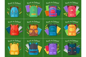 Back to School. Set of Different Kinds Backpacks