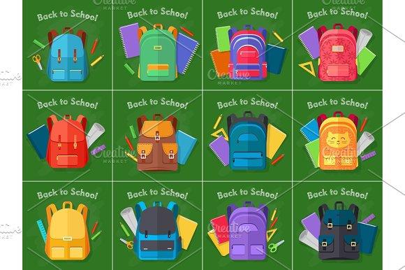 Back To School Set Of Different Kinds Backpacks