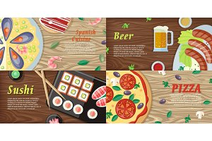 Set of National Dishes Flat Style Vector Banners