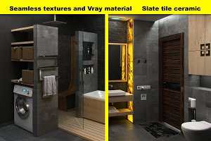 Slate tile textures, for 3D graphic