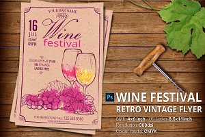 Wine Festival Retro Vintage Flyer