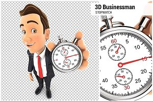 3D Businessman Holding Stopwatch