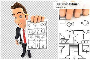 3D Businessman Holding House Plan