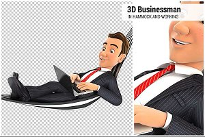 3D Businessman Lying in Hammock