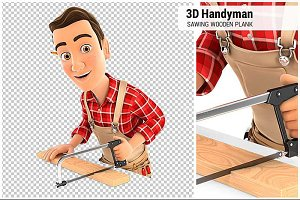 3D Handyman Sawing Wooden Plank