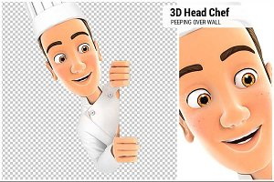 3D Head Chef Peeping Over Wall