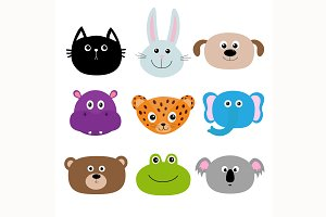 Cute animal head set.