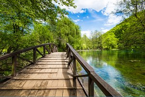 Vrelo Bosne, old wooden bridge
