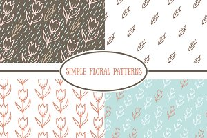 Set of simple floral patterns