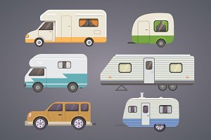 Retro camper trailer collection.